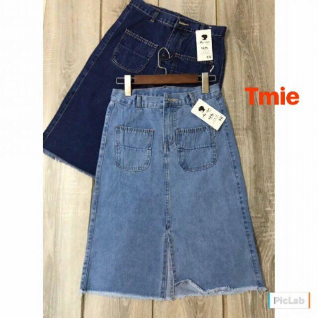 Giá chỉ 134k Chân váy jeans dáng A ( hình thật )