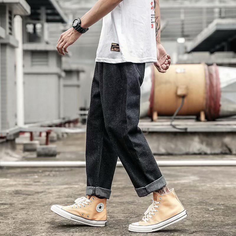 Quần Jean ống suông dáng rộng phong cách Hàn Quốc trẻ trung hợp thời trang cho nam