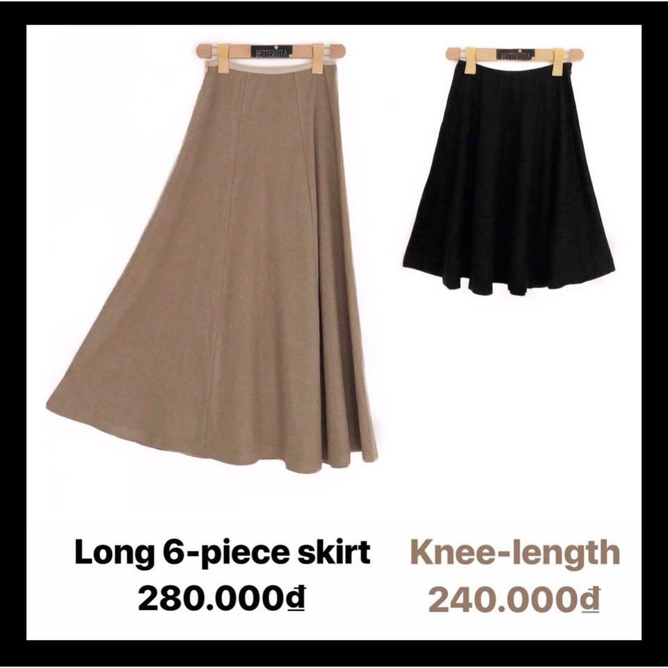 Chân váy len cotton dáng dài và ngắn (4 màu)