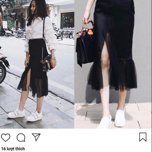 chân váy đen xẻ