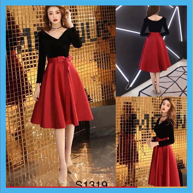 [Hot Trend] Set Áo Đen Trễ Vai + Chân Váy Đỏ Thắt Nơ Kèm Ảnh Thật Chất Lượng