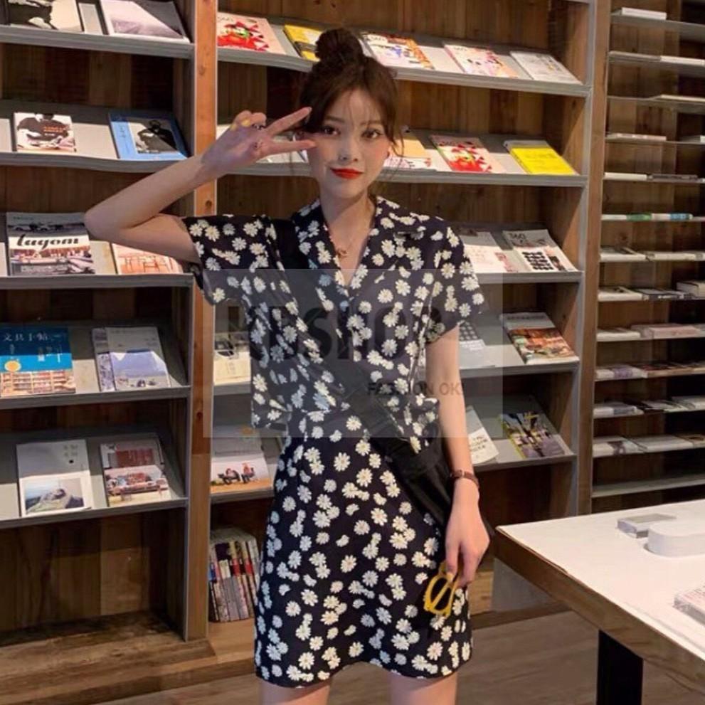 Set váy áo họa tiết hoa, cổ V, tay ngắn, chân váy chữ A
