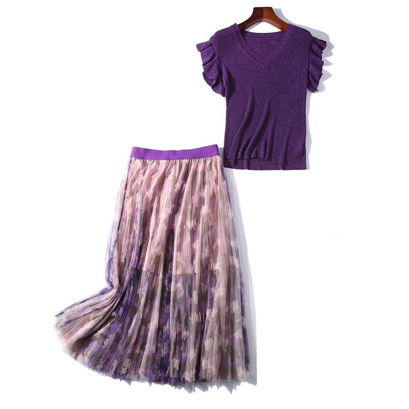 Set Áo Thun Ngắn Tay + Chân Váy Chữ A Thời Trang Hàn Cho Nữ