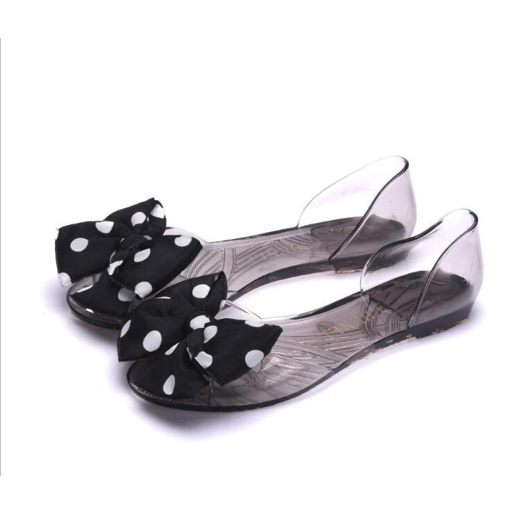 【Có bỏ sỉ 】Giày nhựa jelly búp bê nữ nơ chấm bi