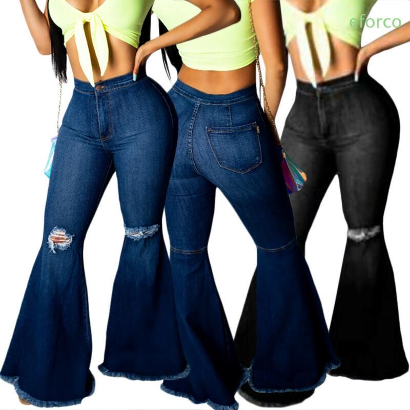 Quần jeans dài lưng cao phối rách thời trang cho nữ
