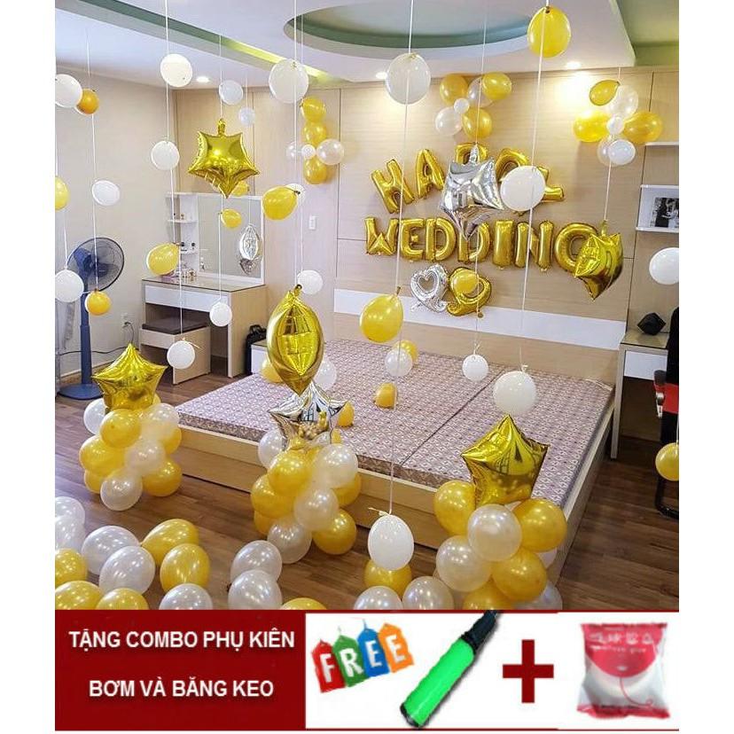 Set Bóng nhôm trang trí phòng cưới tông màu vàng