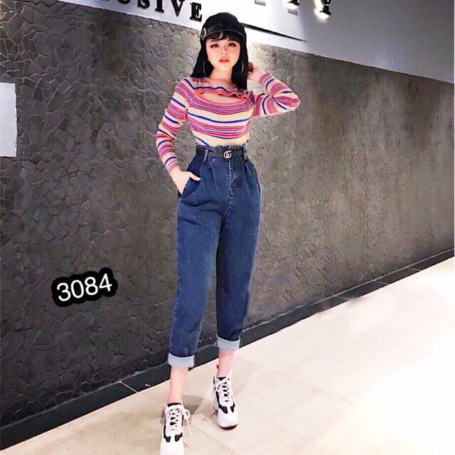Quần Jeans Nữ Lưng Cao Cao Cấp OHS3084