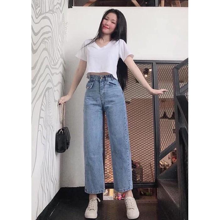 quần jean nữ ống rộng túi kiểu