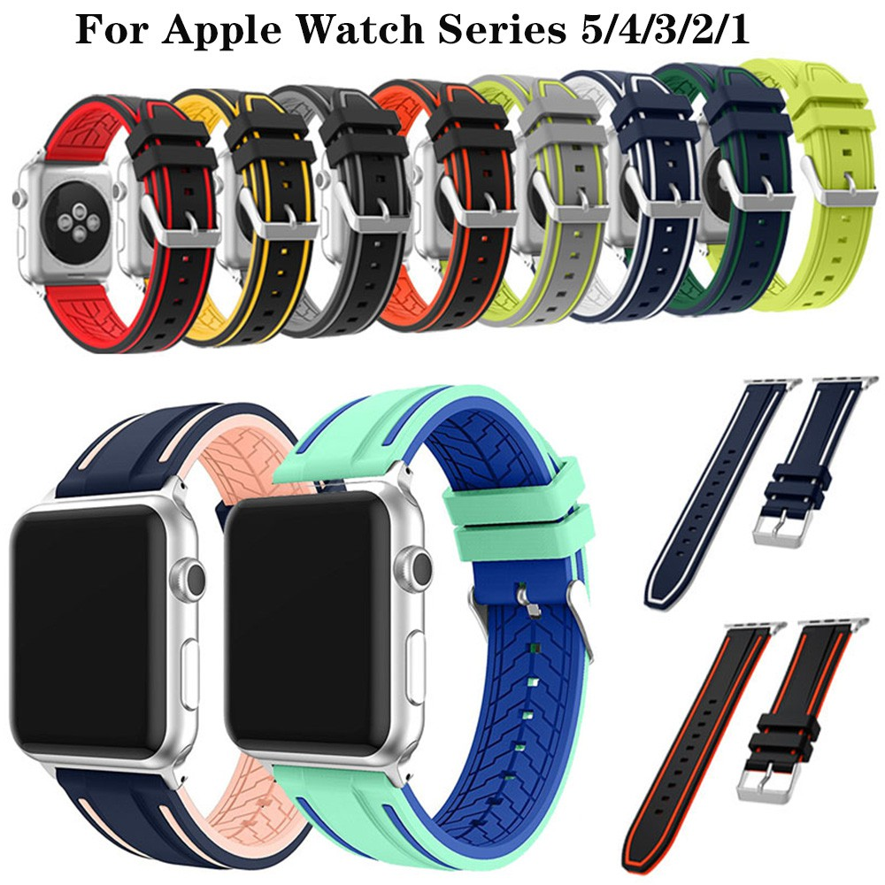 Hình ảnh Apple Watch Series 5/4/3/2/1 Watch Band Silicone Sport Strap iWatch Bracelet Accessory 38/40mm 42/44mm