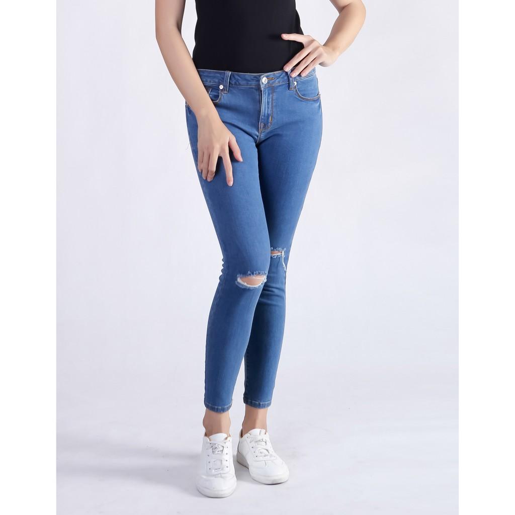 Quần Jeans nữ Skinny rách gối