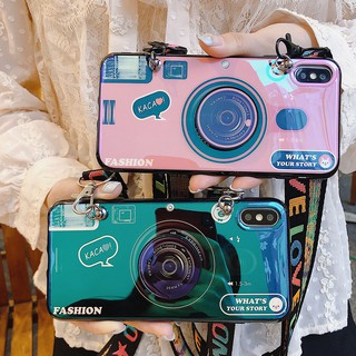 Hình ảnh Vỏ điện thoại mềm có hình máy ảnh và dây buộc dài Samsung Galaxy Note 8 9 10 Plus Lite 20 Ultra Camera Pattern Soft Phone Case With Wriststand and Lanyard Slim Back Cover