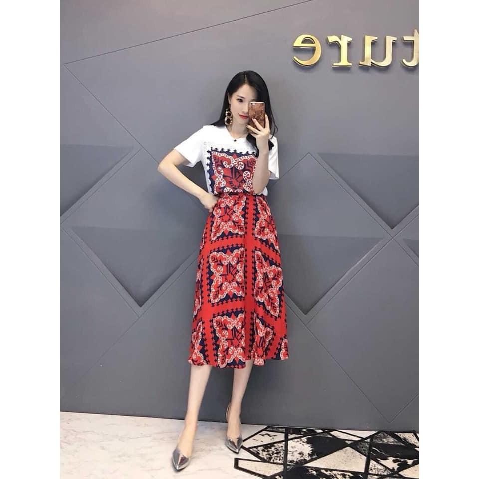 Hàng nhập QC- Set đầm lụa (áo phông + chân váy suông họa tiết) cao cấp