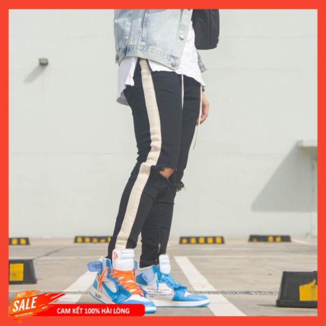 Quần Jean Nam đen Pants Rách Gối Skinny Zipper
