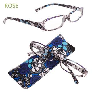 ROSE Matching Pouch Magnifying Ultra Light Resin Print Flower Eye wear Reading Glasses