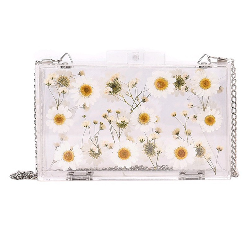 túi Women Evening Bags Wedding Party Pearl Flower Bride Handbag Crossbody Clear Hard Box Clutch Transparent Chain Bag