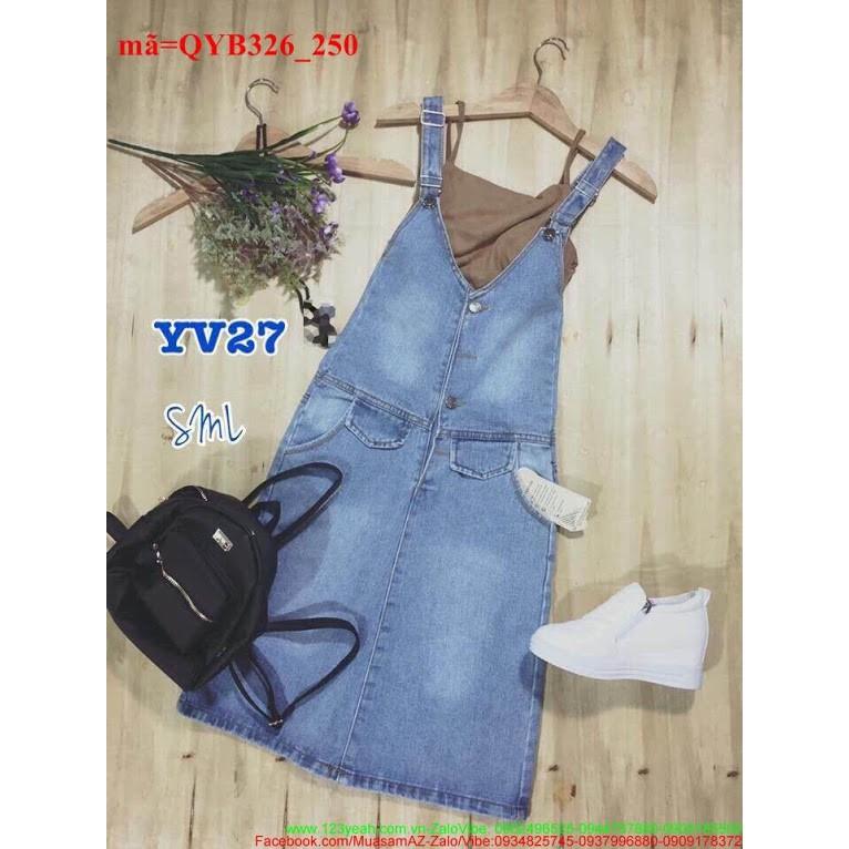 Váy yếm jean đơn giản xinh iu nổi bật QYB326.