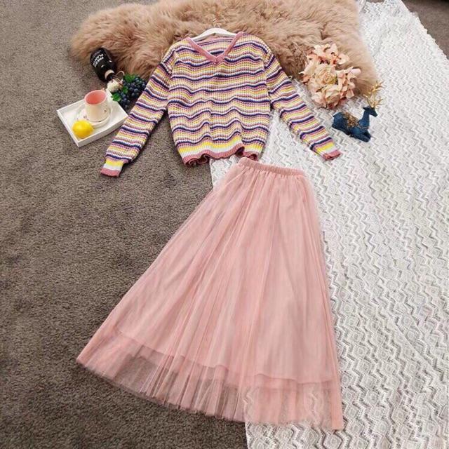 Set áo len + chân váy