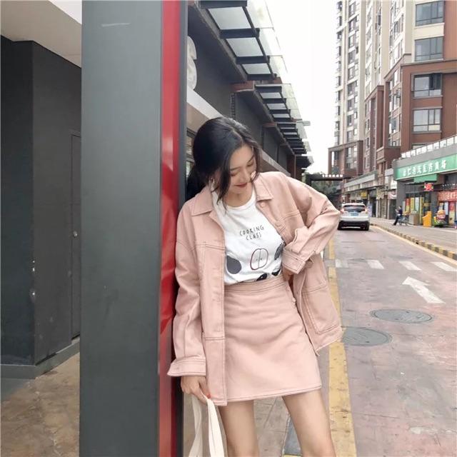 sét váy hàng quảng châu   áo khoác + chân váy ngắn lên dáng cực đẹp cực chuẩn phù hợp vời giới trẻ hiện nay