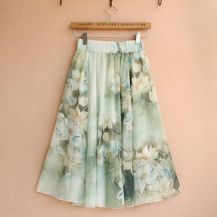 Chân váy voan eo chung in hoa văn thời trang mùa hè dành cho nữ