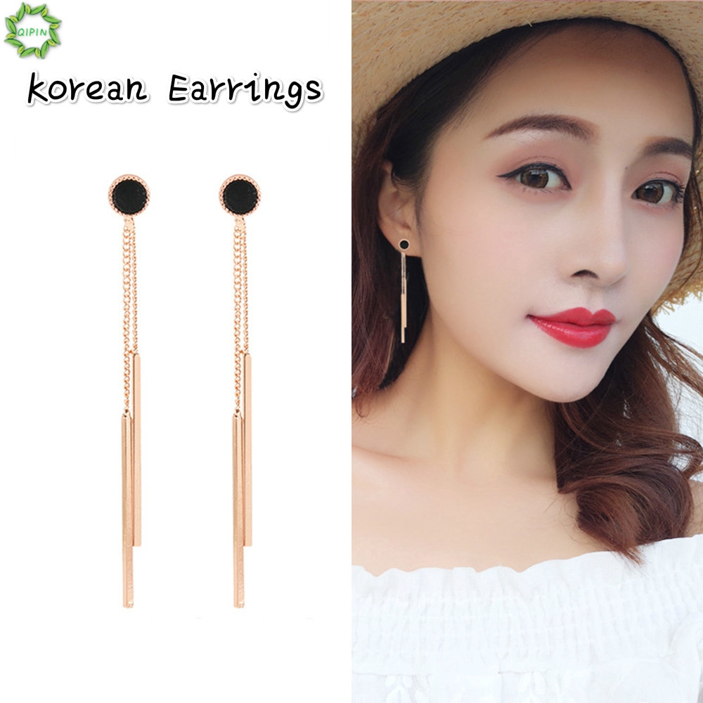 Cod Qipin Korean Jewelry Long Tassel Chain Round Sweet Elegant Stud Earring Eardrop for Women Girl