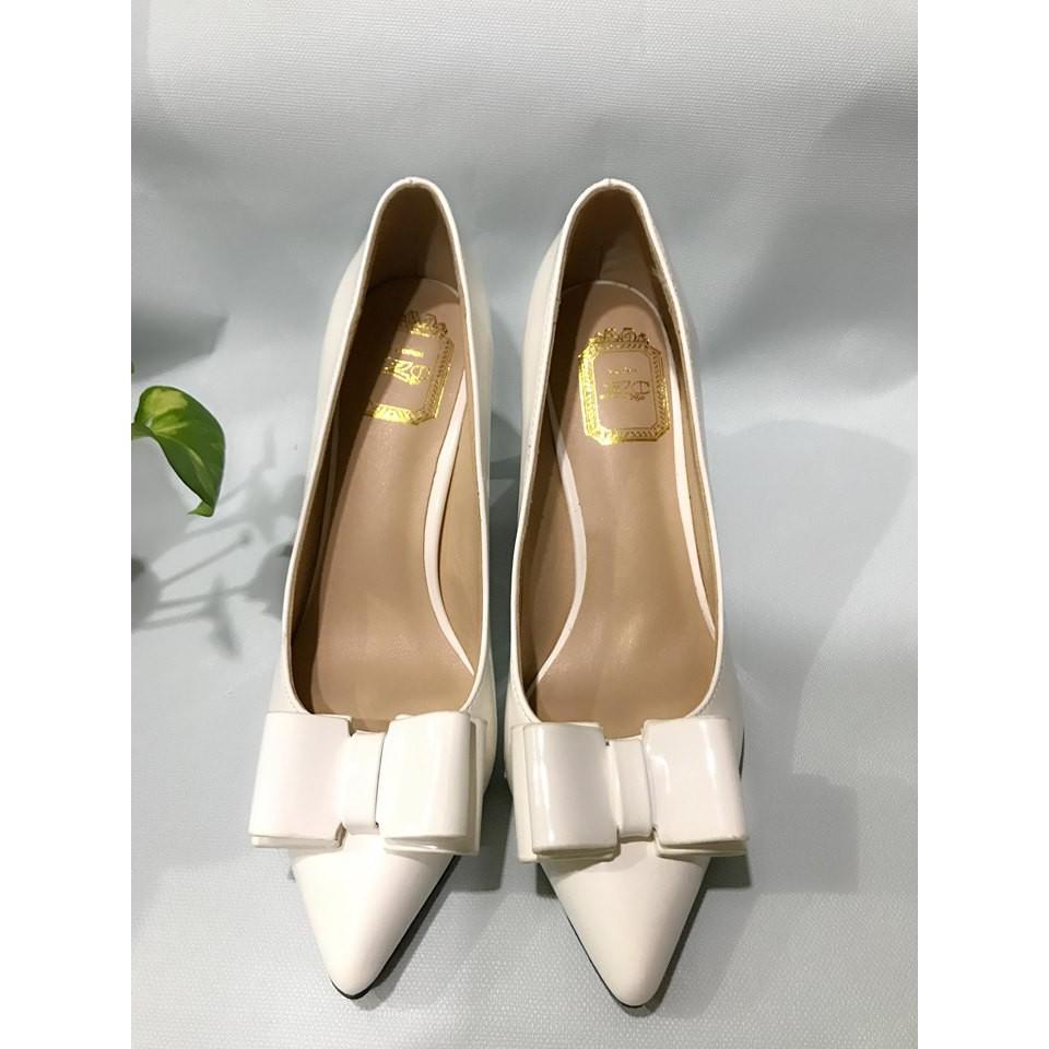 Giày Cao gót trắng nơ