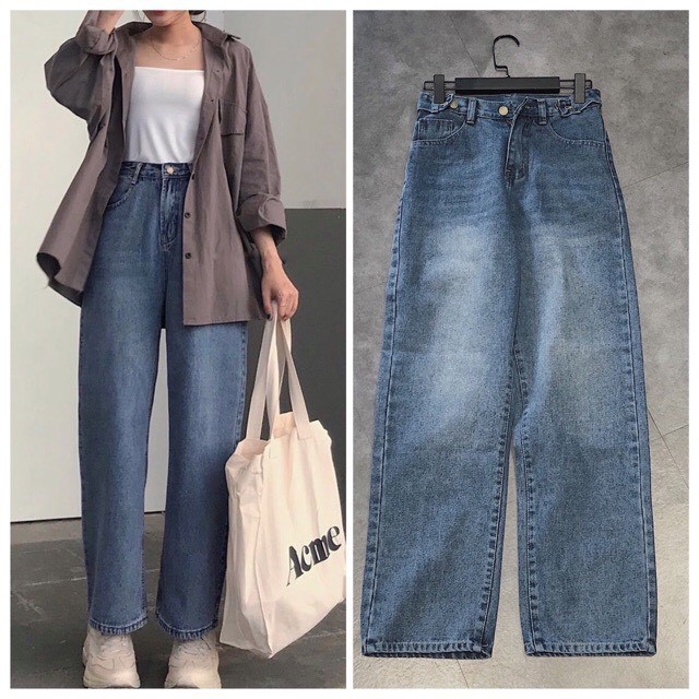 FS50K_Quần Jeans Nữ Ống Rộng SIMPLE JEANS 3 KHUY OHS3500