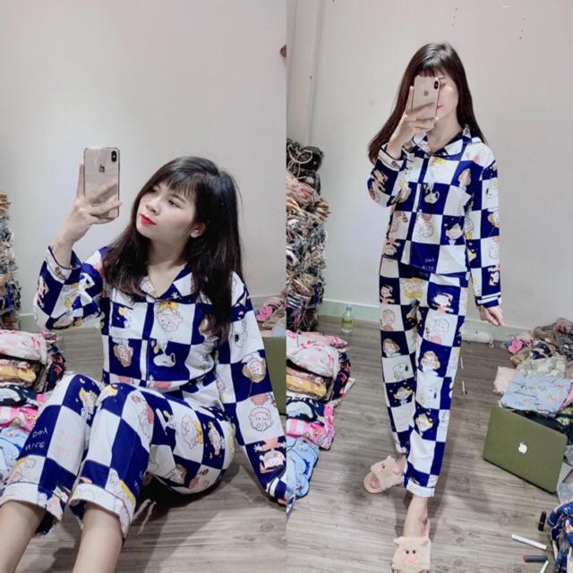 Đồ bộ pijama kate thái loại 1 mặc nhà tay dài quần dài