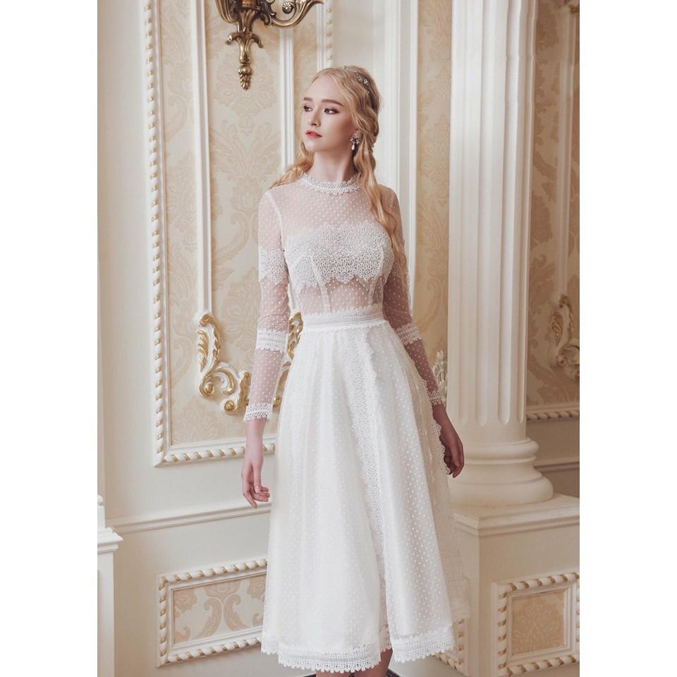 Đầm dự tiệc công chúa dáng dài, đầm trắng phối ren sang trọng
