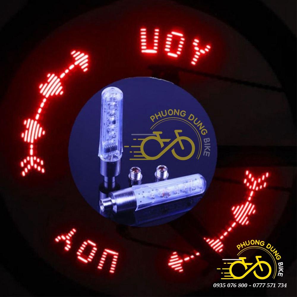 Bộ 2 đèn led chạy chữ gắn chân van xe đạp