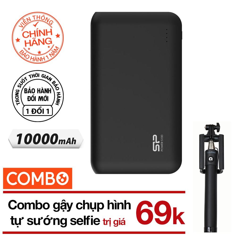 [Mã ELVT06 giảm 5% đơn 200K] Pin sạc dự phòng 10000mAh S100 Silicon Power(Đen)+Gậy chụp hình selfie(màu ngẫu nhiên)