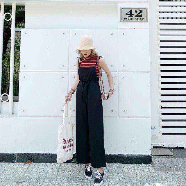 Sét quần yếm+ áo thun sọc