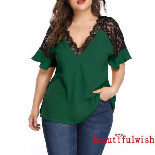 fyWomen's Short Sleeve Shirt Summer Fashion Wild Lace Patchwork Plus Size Contrast Color Tops
