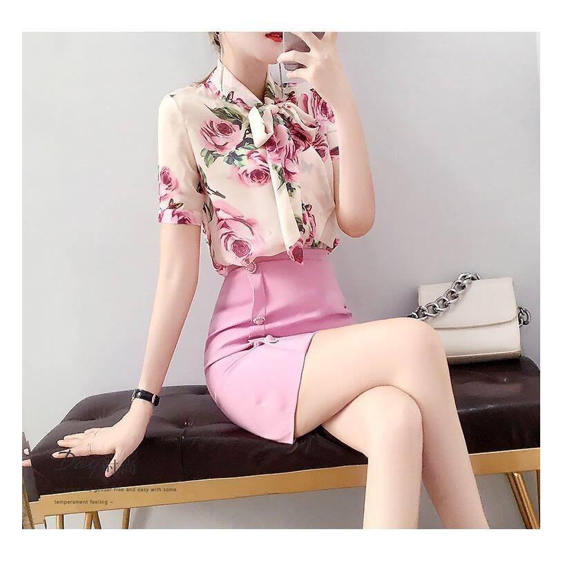 Hàng nhập - Set áo sơ mi hoa hồng + chân váy body siêu xinh [ Mới]