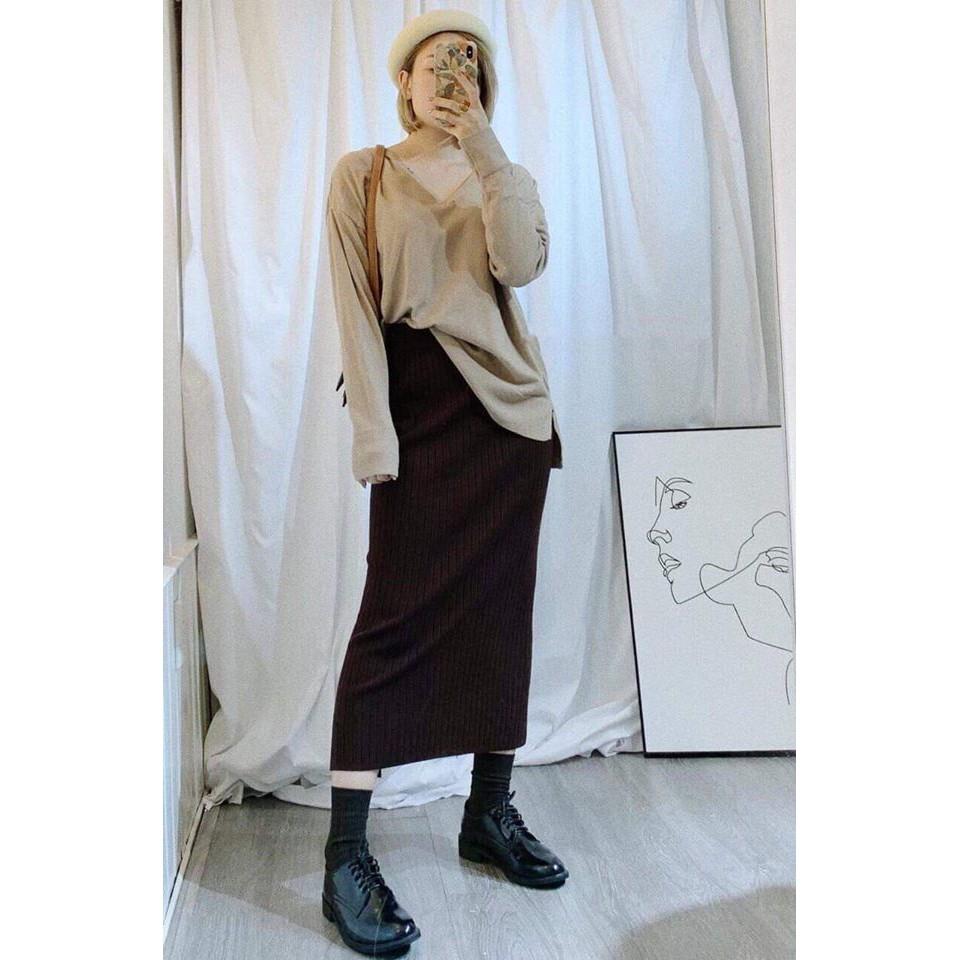 (NEW) Chân váy len dài_Hàn Quốc-CỰC XINH