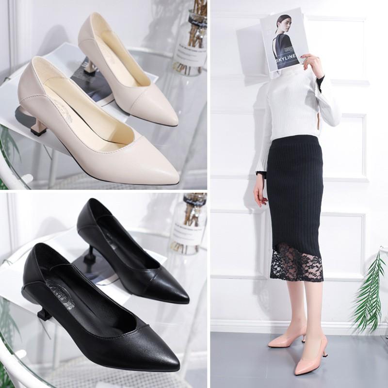 [Mã FSS09JAN hoàn 20% XU đơn từ 0đ]Giày cao gót da mềm thời trang cho nữ