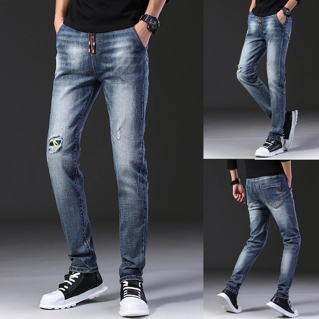 Quần jean kiểu dài có dây buộc thời trang cho nam
