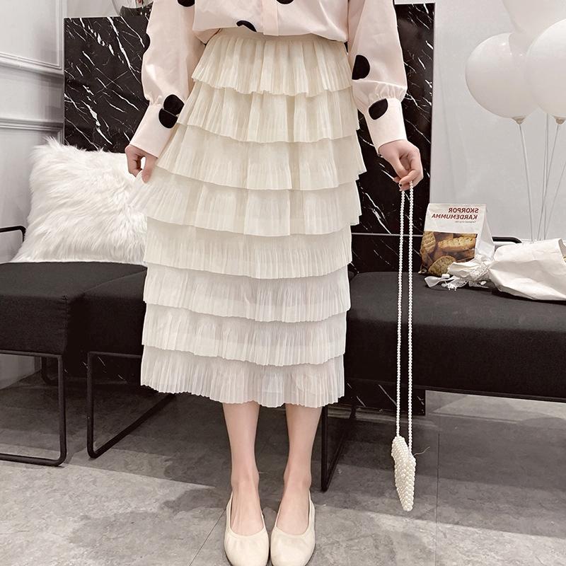 Chân váy xòe nhiều lớp dáng dài phong cách Hàn Quốc nữ tính