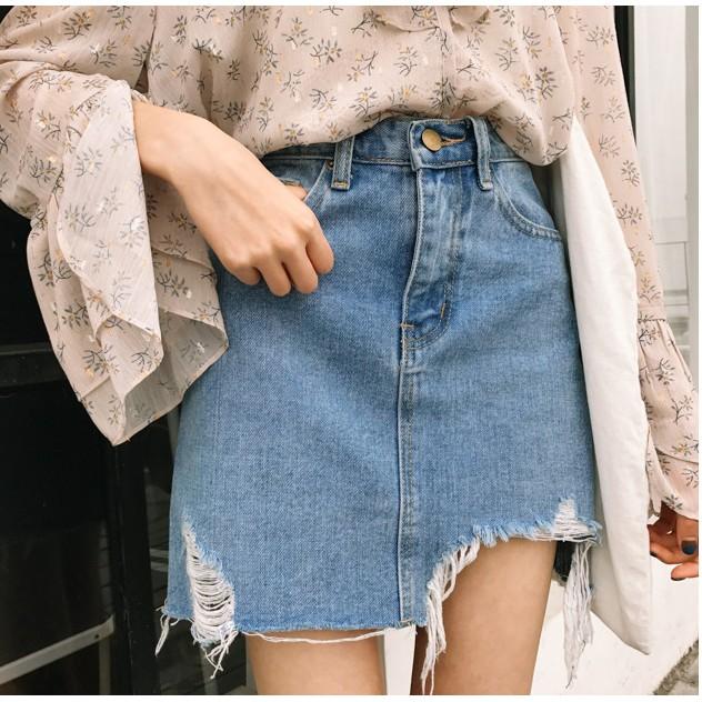 (Kèm ảnh thật) Chân váy jean rách quãng châu L12