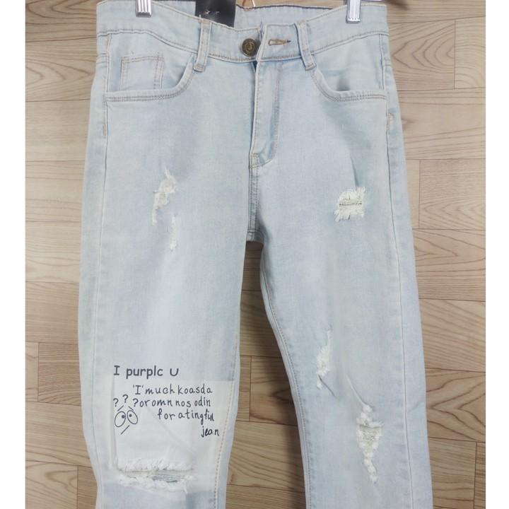 Quần jean nam dài màu xanh bạc rách gối, xước, chữ kiểu, ống tua rua [Aimeka]