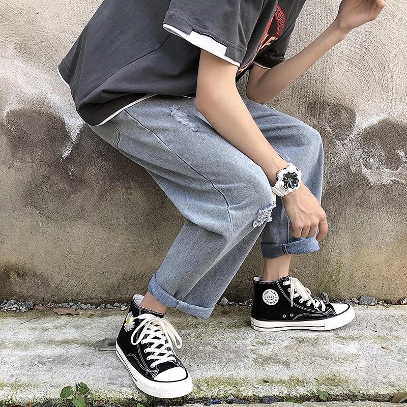 Quần Jeans Nam 2 Lỗ Dáng Rộng Thời Trang Cá Tính