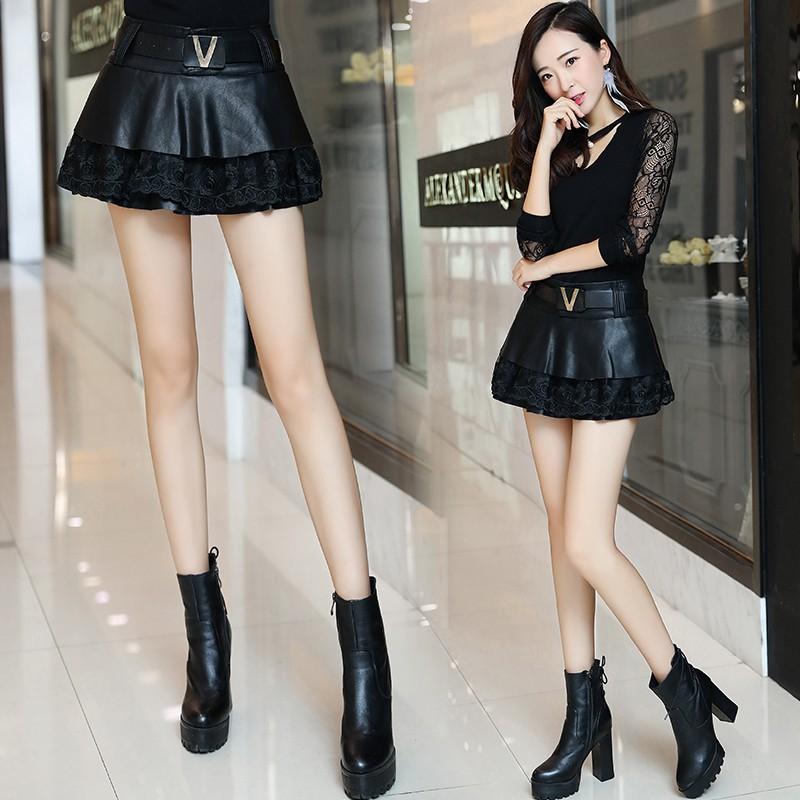 Chân Váy Da Pu Phối Ren Xinh Xắn Dành Cho Nữ 2020