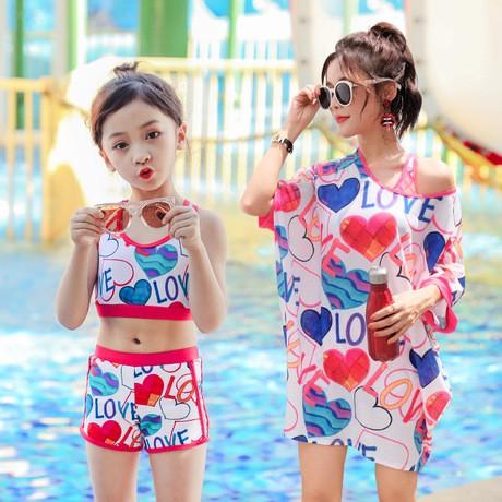 Set đồ bơi mẹ con,áo tắm,bikini 2 mảnh kèm áo khoác, đồ đi biển mẹ con