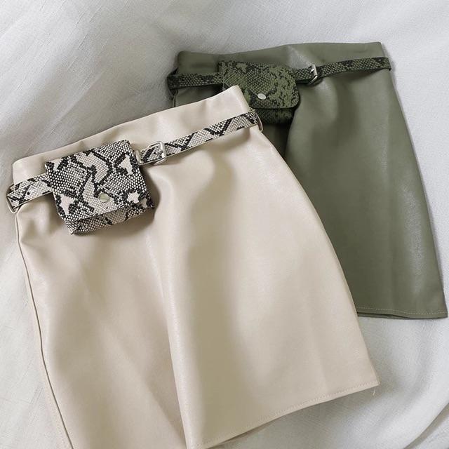 Chân váy da kèm túi đeo hông