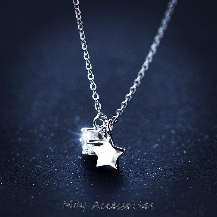Dây chuyền đá zircon, ngôi sao bạc 925 cao cấp