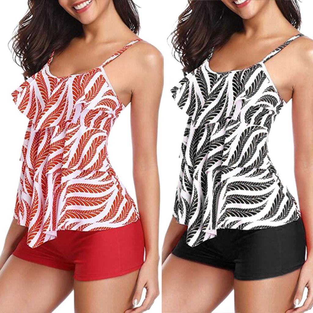 Bộ bikini 2 mảnh gồm áo 2 dây + quần lót họa tiết lượn sóng gợi cảm cho nữ