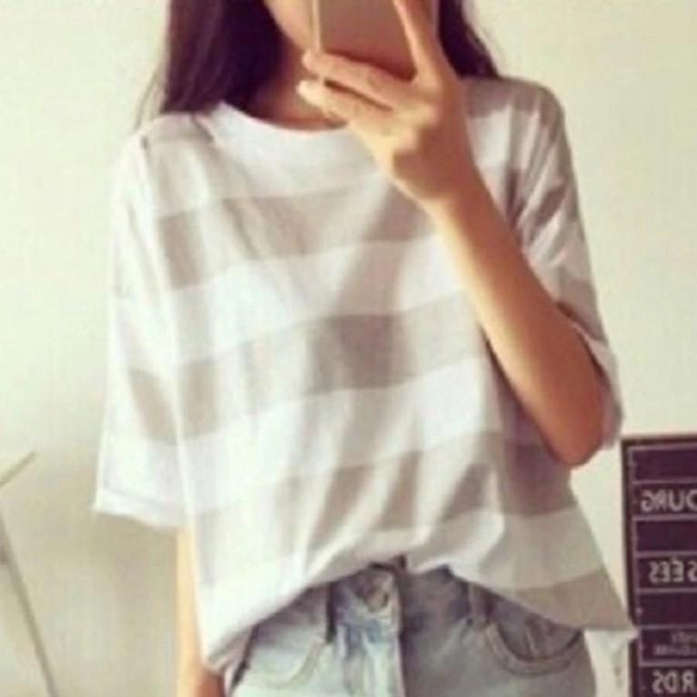 Áo thun nữ Minh Khoa xám sọc trắng