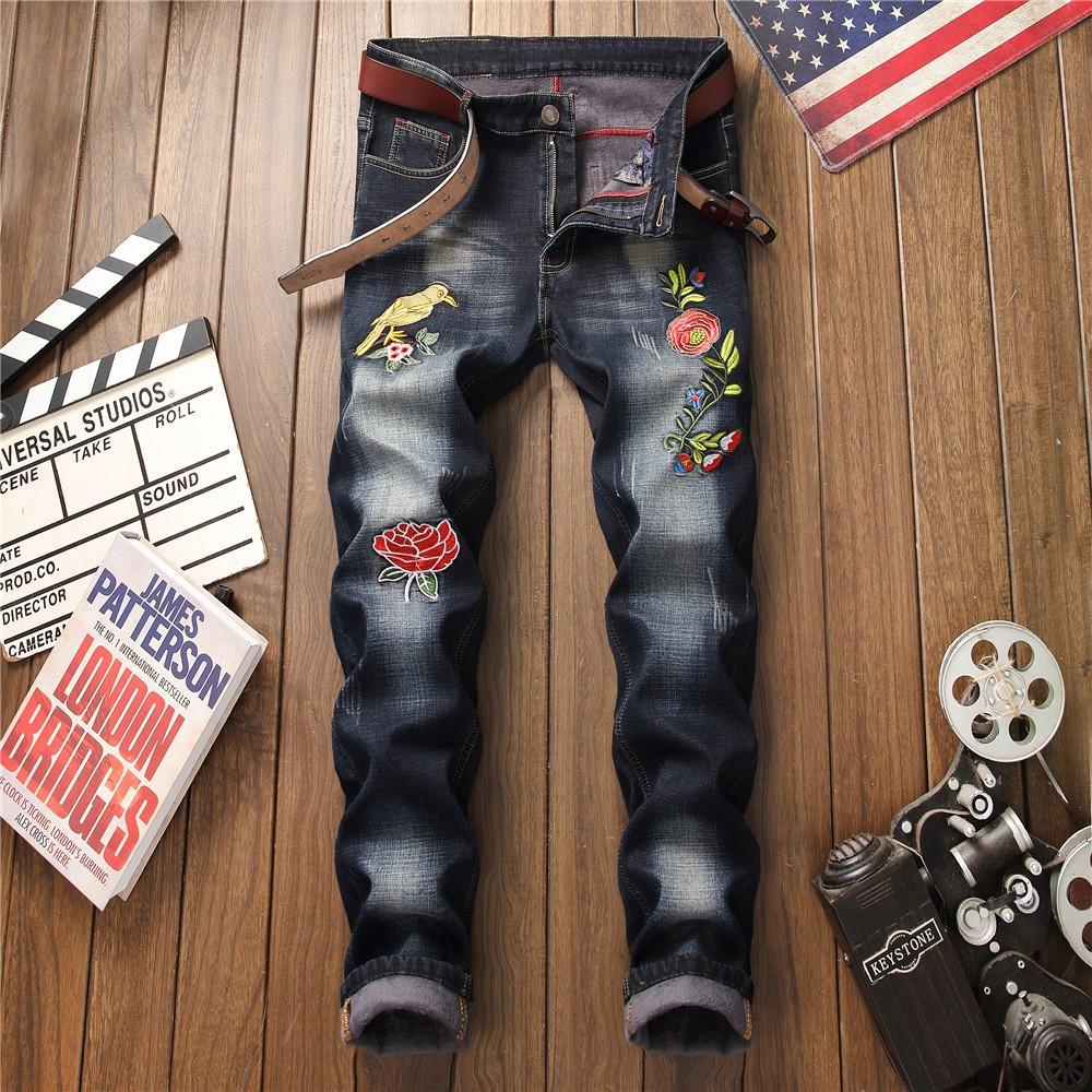 Quần Jeans Ống Đứng Lót Nhung Thêu Họa Tiết Cá Tính Cho Nam