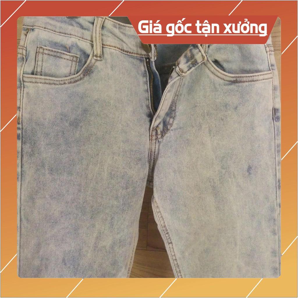 Quần jean nam thời trang dài màu bạc xanh trơn ống đứng