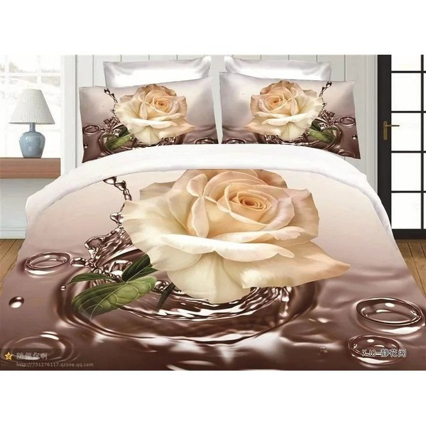 Longjl Rose Bedding Sets Flower Print Comforter Set 3D Oil Painting Duvet C