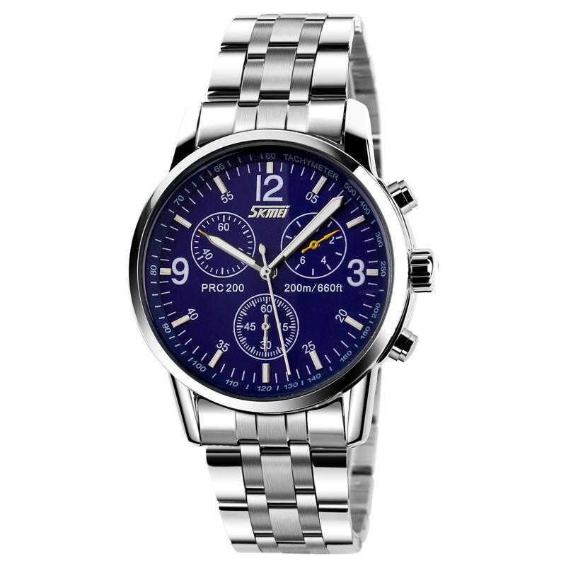 [Mã WTCHJAN giảm 20K ] Đồng hồ nam dây inox thương hiệu Skmei 9070 XanhMã DHSK9070